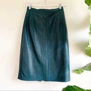 Vintage | Teal Leather Pencil Skirt
